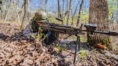 A student at the Marine Military Police Basic Course provides security during a field exercise at Fort Leonard Wood, Missouri, April 14, 2016. The exercise evaluates the skills of students in an expeditionary environment.