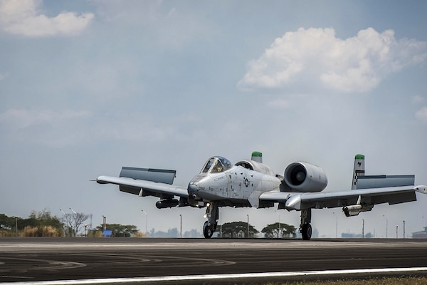 CLARK AIR BASE, Philippines (April 19, 2016) - A U.S. Air Force A-10C Thunderbolt II with the 51st Fighter Wing out of Osan Air Base, Republic of Korea, touches down at Clark AB after returning from its first operational mission through international airspace, providing air and maritime situational awareness. The A-10C's mission enhances U.S. military assets in the region upholding freedom of navigation and over flight. Five A-10Cs are joined with three HH-60G Pave Hawks, and approximately 200 personnel deployed from multiple Pacific Air Forces units to make up the first iteration of the U.S. Pacific Command Air Contingent at Clark AB.