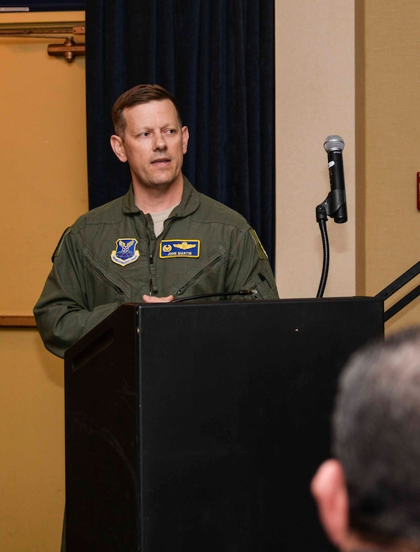 Col. John Martin, 28th Operations Group commander, speaks to Ellsworth Airmen about the importance of their heritage during the Doolittle Raider toast ceremony at Ellsworth Air Force Base, S.D., April 18, 2016. On April 18, 1942, 80 pilots led by Lt. Col. James Doolittle launched 16 B-25 aircraft to retaliate against Japan for the attack on Pearl Harbor, marking it the first major planning collaboration for a joint service mission. (U.S. Air Force photo by Airman 1st Class Sadie Colbert/Released)