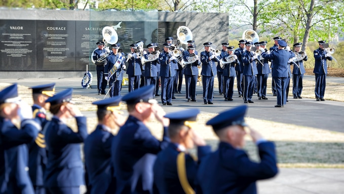 The Ceremonial Brass perform for an arrival ceremony at the Air Force Memorial, under the direction of Drum Major Senior Master Sgt. Daniel Valadie, and Maj. David A. Alpar. The ceremony welcomed dignitaries from Turkey on April 4, and was followed by a wreath-laying ceremony at the Tomb of the Unknown Soldier at Arlington National Cemetery (U.S. Air Force photo by Chief Master Sgt. Bob Kamholz).