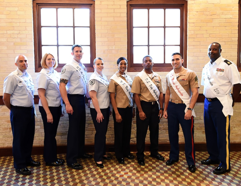 The 2016 military ambassadors, representing all branches of the Joint BaseSan Antonio military services, attend the Fiesta 2016 Media Day, March 16, 2016, in downtown San Antonio. The top two members, male and female respectively, are selected annually from each service branch to be its military ambassadors and engage with the local community as official representatives. (Left to right: Petty Officers 1st Class Marco Rivera and Betsy Harrell, U.S. Coast Guard ambassadors; Tech. Sgts. Steven Nowicki and Jacqueline Crow, U.S. Air Force ambassadors; Petty Officers 1st Class Kadia Griffin and Kalvin Wilburn, U.S. Navy ambassadors; Sgts. Thiago Alves and Dawn Casiano (not pictured), U.S. Marine ambassadors; Sgt. 1st Class Thomas Richardson and Staff Sgt. Jacquelyn Jones (not pictured), U.S. Army ambassadors. (U.S. Air National Guard photo by Staff Sgt. Mindy Bloem)