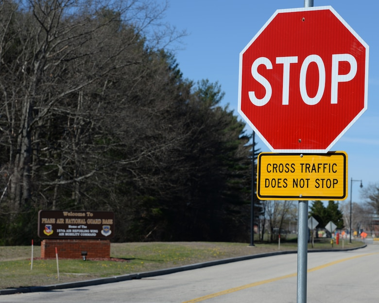The four-way intersection at Arboretum Drive, New Hampshire Avenue, Newington Road, and Pease Boulevard is currently a two-way stop with stop signs only on the corners of Pease Boulevard and Newington Road but changes are forthcoming. (U.S. Air National Guard photo by Staff Sgt. Curtis J. Lenz)