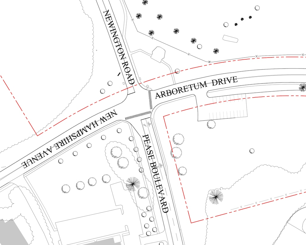 The curent four-way intersection at Arboretum Drive, New Hampshire Avenue, Newington Road, and Pease Boulevard is currently a two-way stop with stop signs only on the corners of Pease Boulevard and Newington Road. (U.S. National Guard graphic by James F. O'Loughlin)