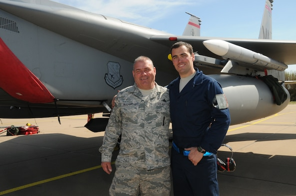 U.S. Air Force and Air National Guard Master Sgt. Donny Masciadrelli, 104th Fighter Wing avionics technician, and his son, Tech. Sgt. Danny Masciadrelli, 104th Fighter Wing F-15 crew chief, deploy together for the first time for an F-15C/D Eagle mission to the Netherlands in April 2016. They are deployed in support of Operation Atlantic Resolve along with more than 250 Airmen from the 104th as part of a theater security package, strengthening relationships and training alongside NATO allies throughout Europe. (U.S. Air National Guard photo by 1st Lt. Bonnie Harper/Released)