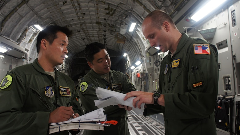 Capt. David Foster, 535th Airlift Squadron briefs air crew members Capt. Skip Saito and Loadmaster, Tech. Sgt. Randy Yamada on the day's air drop mission during Balikatan 2016, Clark Air Field, Philippines, April 15, 2016. Balikatan, which means shoulder to shoulder in Filipino, is an annual bilateral training exercise aimed at improving the ability of Philippine and U.S. military forces to work together during planning, contingency and humanitarian assistance and disaster relief operations. (U.S. Air National Guard photo by Tech. Sgt. Andrew Jackson/released)