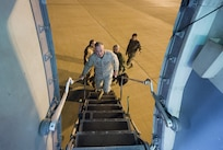 Marine Corps Gen. Joe Dunford, chairman of the Joint Chiefs of Staff, boards a C-17 after a visit to Iraqi's Kurdistan region, April 22, 2016. Dunford visited Iraq to assess the campaign against the Islamic State of Iraq and the Levant. DoD photo by Navy Petty Officer 2nd Class Dominique A. Pineiro
