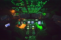 Air Force Capt. Mike Elliott, aircraft commander, and Air Force Capt. Addison Schenk, copilot, monitor the controls of a C-17 transporting Marine Corps Gen. Joe Dunford, chairman of the Joint Chiefs of Staff, from Iraq's Kurdistan region,  April 22, 2016. Dunford visited Iraq to assess the campaign against the Islamic State of Iraq and the Levant. DoD photo by Navy Petty Officer 2nd Class Dominique A. Pineiro