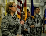 Air Force Airman 1st Class Kara Woods, 86th Communications Squadron postal specialist, left, practices with fellow honor guard members at Ramstein Air Base, Germany, March 31, 2016. Woods has been a member of the base honor guard since January, and she said she's learned honor, discipline and precision. Air Force photo by Senior Airman Larissa Greatwood