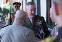 Marine Gen. Joseph F. Dunford Jr., chairman of the Joint Chiefs of Staff, speaks with Egyptian Defense Minister Col. Gen. Sedki Sobhy and Chief of the Armed Forces Lt. Gen. Mahmoud Hegazy before departing the Ministry of Defense in Cairo, April 23, 2016. DoD photo by Navy Petty Officer 2nd Class Dominique A. Pineiro