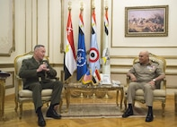 Marine Corps Gen. Joe Dunford, chairman of the Joint Chiefs of Staff, talks with Egyptian Defense Minister Col. Gen. Sedki Sobhy at the Ministry of Defense in Cairo, April 23, 2016. DoD photo by Navy Petty Officer 2nd Class Dominique A. Pineiro