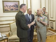 Marine Corps Gen. Joe Dunford, chairman of the Joint Chiefs of Staff, greets Egyptian Defense Minister Col. Gen. Sedki Sobhy at the Ministry of Defense in Cairo, April 23, 2016.  DoD photo by Navy Petty Officer 2nd Class Dominique A. Pineiro