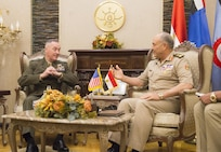 Marine Corps Gen. Joe Dunford, chairman of the Joint Chiefs of Staff, meets with Egyptian Chief of the Armed Forces Lt. Gen. Mahmoud Hegazy at the Ministry of Defense in Cairo, April 23, 2016. DoD photo by Navy Petty Officer 2nd Class Dominique A. Pineiro