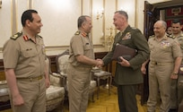 Marine Corps Gen. Joe Dunford, chairman of the Joint Chiefs of Staff, greets Egyptian Chief of the Armed Forces Lt. Gen. Mahmoud Hegaz at the Ministry of Defense in Cairo, April 23, 2016. DoD photo by Navy Petty Officer 2nd Class Dominique A. Pineiro