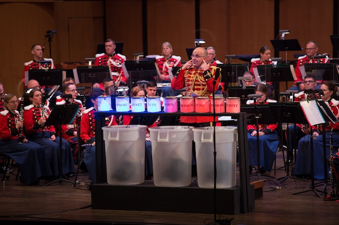 The Marine Band performed the Young People's Concert: Meet the Band, which included an instrument petting zoo, on Sunday, April 24, at Northern Virginia Community College's Rachel M. Schlesinger Concert Hall and Arts Center in Alexandria, Va. (USMC photo by Staff Sgt. Brian Rust/released).