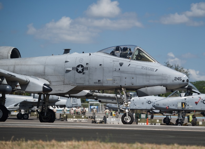 U.S. Air Force Capt. Chris Elmstedt, an A-10C Thunderbolt II pilot from the 25th Fighter Squadron, Osan Air Base, Republic of Korea, taxies the aircraft in preparation for takeoff at Clark Air Base, Philippines, April 21, 2016. The pilots and aircraft conducted a mission flying in the vicinity of Scarborough Shoal in order to provide greater and more transparent air and maritime situational awareness to ensure safety for military and civilian activities in international waters and airspace. Elmstedt is deployed along with five A-10Cs, three HH-60G Pave Hawks and approximately 200 Airmen from various Pacific Air Forces bases in support of U.S. Pacific Command's first Air Contingent. (U.S. Air Force photo by Capt. Susan Harrington)