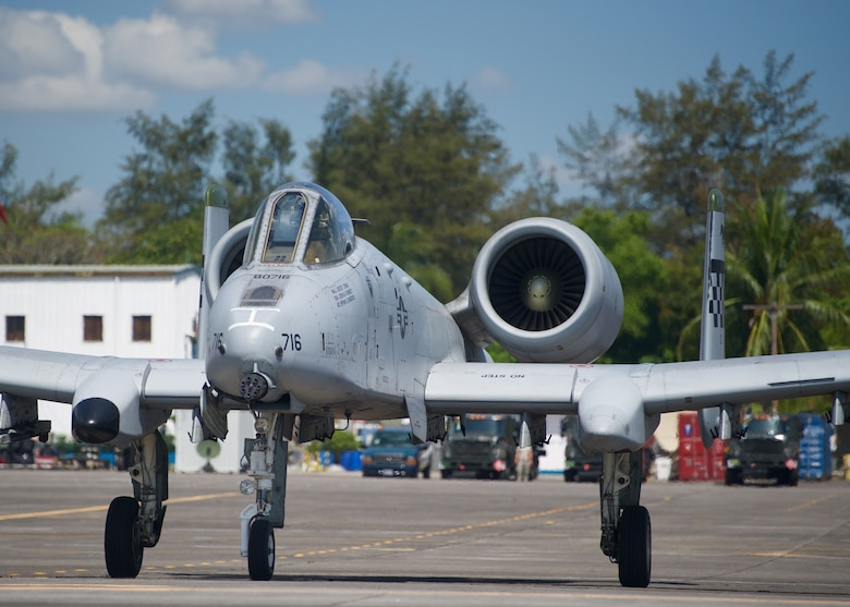 A U.S. Air Force A-10C Thunderbolt II taxies prior to takeoff from Clark Air Base, Philippines, on an air and maritime domain awareness mission April 21, 2016. The aircraft is part of the Air Contingent stood up by U.S. Pacific Command at the invitation of the Philippine government, demonstrating the U.S. commitment to partners and allies in the Indo-Asia-Pacific region. The aircraft are flying in and around the South China Sea within international airspace, demonstrating freedom of navigation and providing transparency of operations in these areas. (U.S. Air Force photo by Capt. Susan Harrington)
