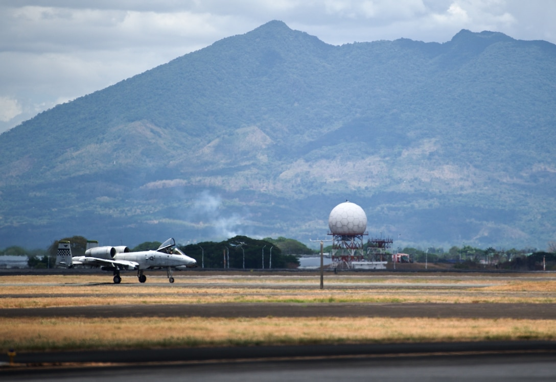 A U.S. Air Force A-10C Thunderbolt II taxies down the runway at Clark Air Base, Philippines, after completing an air and maritime domain awareness mission April 21, 2016. The aircraft is part of U.S. Pacific Command's Air Contingent stood up at the invitation of the Philippine government. The Air Contingent demonstrates the U.S.'s commitment to maintaining a consistent presence in accordance with international laws and norms in the Western Pacific, as has been done for decades. (U.S. Air Force by Capt. Susan Harrington)