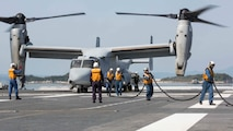 Japan Maritime Self Defense Force personnel finish refueling a U.S. Marine Corps MV-22B Osprey tiltrotor aircraft from Marine Medium Tiltrotor Squadron (VMM) 265 (Reinforced), 31st Marine Expeditionary Unit (MEU), aboard the JS Hyuga (DDH 181), at sea, April 22, 2016. The Osprey recieved supplies from the Hyuga in support of the relief effort after a series of earthquakes struck the island of Kyushu. The 31st MEU is the only continually forward-deployed MEU and remains the Marine Corps' force-in-readiness in the Asia-Pacific region. (U.S. Marine Corps photo by Cpl. Darien J. Bjorndal, 31st Marine Expeditionary Unit/ Released)