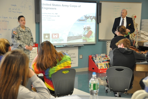 Two U.S. Army Corps of Engineers, Buffalo District engineers, with vastly different education and work backgrounds, teamed up to deliver valuable industry exposure to Niagara Falls High School science, technology, engineering, and mathematic (STEM) soon-to-be graduates, April 21.
