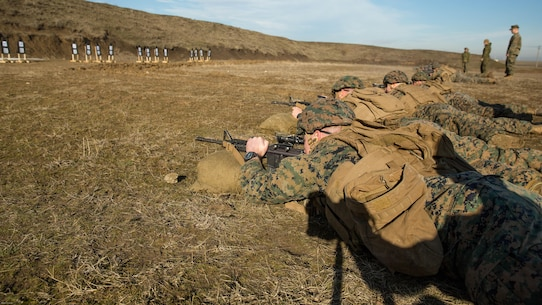 U.S. Marines with Black Sea Rotational Force engage targets during a live-fire exercise aboard Mihail Kognalniceanu Air Base, Romania, Feb. 2, 2016. Marines from 1st Battalion, 8th Marine Regiment, conducted battle sight zeroes on various individual weapons systems, to prepare for future BSRF exercises and contingencies.