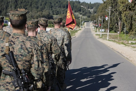 U.S. Marines with Black Sea Rotational Force march in formation during Exercise Juniper Cobra in Israel, Feb. 13, 2016. JC is a combined Israeli-U.S. exercise designed to improve interoperability between the two countries' armed forces. (U.S. Marine Corps photo by Cpl. Kelly L. Street, 2D MARDIV COMCAM/Released)