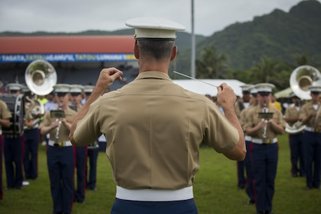 U.S. Marines with the U.S. Marine Corps Forces, Pacific band, perform at the at the Flag Day Ceremony American Samoa Apr. 18, 2016. The band traveled to American Samoa to participate in their annual Flag Day Ceremony.