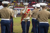 U.S. Marine Staff Sgt. Ronald Orange, drum major, U.S. Marine Corps Forces, Pacific band performs during the Flag Day Ceremony in American Samoa Apr. 18, 2016. The band traveled to American Samoa to participate in their annual Flag Day Ceremony.
