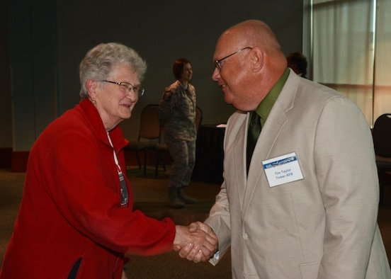 Local resident Phyllis Klein is greeted by Tim Taylor, an Environmental Health Specialist with the 72nd Air Base Wing Civil Engineer Environmental Compliance Office, at the KC-46A public scoping meeting April 21, 2016, at the Sheraton Reed Conference Center in Midwest City, Okla. (U.S. Air Force photo/Tech. Sgt. Lauren Gleason)