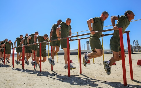 Recruits of Charlie Company, 1st Recruit Training Battalion, conduct dips during a strength and endurance course at Marine Corps Recruit Depot San Diego, April 20. The course focuses on the individual efforts of the recruits and is designed to help them achieve a higher level of fitness. Annually, more than 17,000 males recruited from the Western Recruiting Region are trained at MCRD San Diego. Charlie Company is scheduled to May 20.