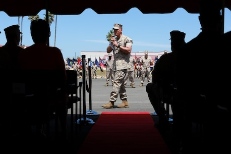 MARINE CORPS BASE, CAMP PENDLETON,Calif. – Col. Vance L. Cryer, the out-going commanding officer for the 15th Marine Expeditionary Unit addresses the audience at a change of command ceremony on Camp Pendleton April 22, 2016. During the ceremony Cryer relinquished command of the unit to Col. James P. Fallon, who previously was the MEU's executive officer.  Cryer led the unit for nearly two years, including a deployment to the Middle East and Western Pacific. (Marine Corps photo by Cpl. Jonathan Boynes/Released)