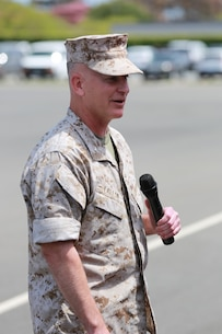 MARINE CORPS BASE, CAMP PENDLETON,Calif. – Col. James P. Fallon, commanding officer of the 15th Marine Expeditionary Unit, makes remarks to an audience during a change of command ceremony on Camp Pendleton April 22, 2016. During the ceremony Col. Vance L. Cryer, the  previous commanding officer of the 15th MEU for nearly two years, relinquished command of the unit to Fallon, who previously was the MEU's executive officer. (Marine Corps photo by Cpl. Jonathan Boynes/Released)