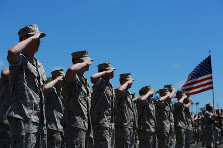MARINE CORPS BASE, CAMP PENDLETON,Calif. – Marines salute during the 15 Marine Expeditionary Unit's change of command ceremony on Camp Pendleton April 22, 2016. During the ceremony Col. Vance L. Cryer, the commanding officer of the 15th MEU for nearly two years, relinquished command of the unit to Col. James P. Fallon, who previously was the MEU's executive officer. (Marine Corps photo by Cpl. Jonathan Boynes/Released)