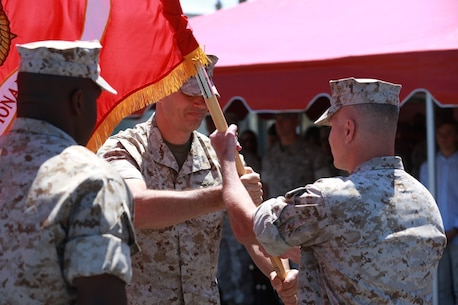 MARINE CORPS BASE, CAMP PENDLETON,Calif. – Col. Vance L. Cryer, the commanding officer of the 15th Marine Expeditionary Unit for nearly two years, relinquishes command of the unit to Col. James P. Fallon, who previously was the MEU's executive officer during a change of command ceremony on Camp Pendleton April 22, 2016. During the ceremony Cryer relinquished command of the unit to Col. James P. Fallon, who previously was the MEU's executive officer.  Cryer led the unit for nearly two years, including a deployment to the Middle East and Western Pacific.  (Marine Corps photo by Cpl. Jonathan Boynes/Released)