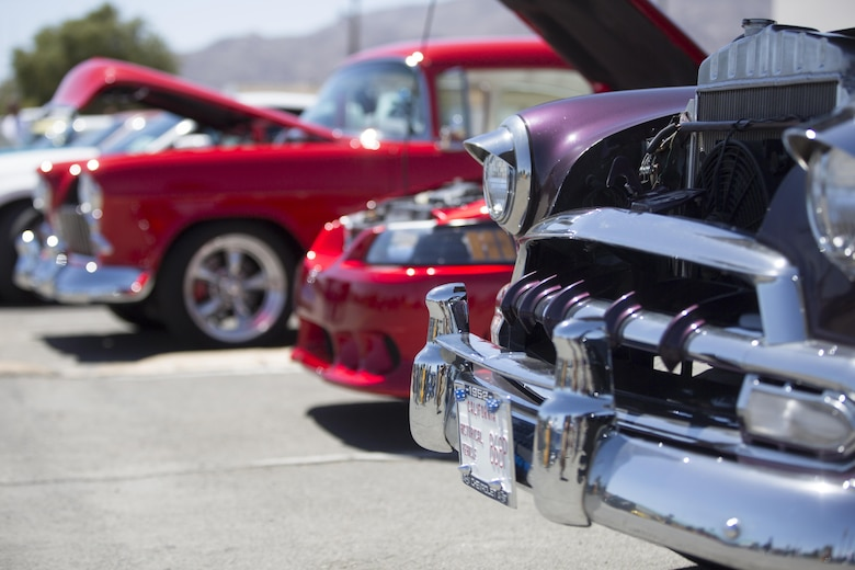 Cars are displayed at Luckie Park in Twentynine Palms, Calif., during the Twentynine Palms Car Show and Street Fair, April 16, 2016. (Official Marine Corps photo by Cpl. Julio McGraw/Released)