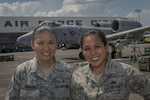 Air Force Tech. Sgt. Kathlyn Hidalgo, left, an independent-duty medical technician with the 25th Fighter Squadron, and Air Force Senior Airman Nikkie Javier, right, a precision guided munitions crew chief with the 51st Munitions Squadron, both deployed from Osan Air Base, South Korea, pose for a photo in front of an A-10C Thunderbolt II at Clark Air Base, the Philippines, April 22, 2016. Hidalgo and Javier are two of three Filipino-American airmen serving U.S. Pacific Command's new Air Contingent in the Philippines. Hidalgo is from Guiguinto, Bulacan, the Philippines, and Javier is a Norwalk, California, native. Air Force photo by Staff Sgt. Benjamin W. Stratton