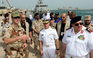 (April 14, 2016) Vice Adm. Kevin Donegan, Commander, U.S. Naval Forces Central Command/U.S. 5th Fleet/Combined Maritime Forces, middle, and Maj. Gen. Khaled Abdullah, Commander, Kuwait Naval Forces, right, meet with French service members during International Mine Countermeasures Exercise (IMCMEX) 16. IMCMEX 16 is a multilateral exercise using all aspects of defensive maritime warfare including mine countermeasures, maritime security operations and maritime infrastructure protection to demonstrate the global resolve to maintain freedom of navigation and the free flow of maritime commerce throughout the U.S. 5th Fleet area of operations.