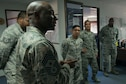 U.S. Air Force Chief Master Sgt. Vegas Clark, 39th Air Base Wing command chief, speaks to 39th Civil Engineer Squadron Airmen during a visit, April 25, 2016, at Incirlik Air Base, Turkey. The visit allowed wing leadership to meet with Airmen from different sections to learn more about the daily operations they perform. (U.S. Air Force photo by Senior Airman John Nieves Camacho/Released)