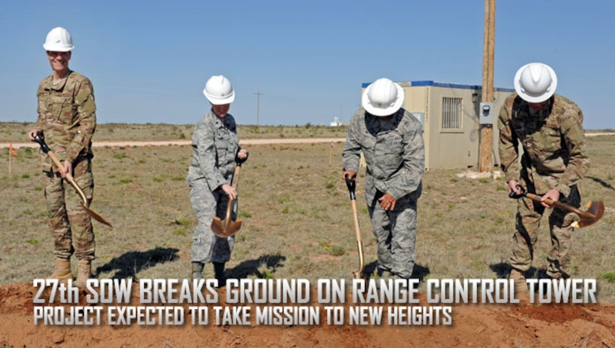 From left to right, Col. Ben Maitre, 27th Special Operations Wing Commander, Lt. Col. Shawn Young, 27th Special Operations Air Operations Squadron commander, Lt. Col. Tony Diaz, 27th Special Operations Contracting Squadron commander, and Lt. Col. Joel Sloan, 27th Special Operations Civil Engineer Squadron commander, break ground on the site where a new Range Control Officer Tower is scheduled to be built April 22, 2016 at Melrose Air Force Range, N.M. The RCO Tower is the point from which a designated officer controls activity on MAFR, a 70,000-acre Air Force primary training range that is integral to making sure Special Operations Forces attached to United States Special Operations Command stay lethal and relevant to today's fight (U.S. Air Force photo/Staff Sgt. Whitney Amstutz)