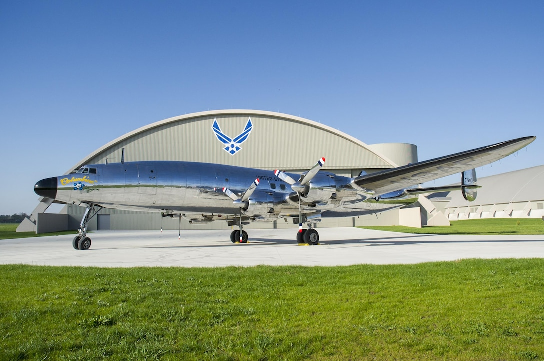 "DAYTON, Ohio -- The Lockheed VC-121E ""Columbine III"" at the National Museum of the United States Air Force on April 23, 2016. This aircraft is one of ten Presidential aircraft in the collection. (U.S. Air Force photo by Ken LaRock)"