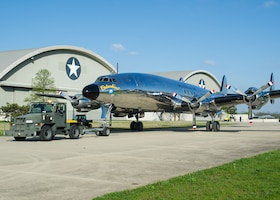 "DAYTON, Ohio -- The Lockheed VC-121E ""Columbine III"" being towed to the fourth building at the National Museum of the United States Air Force on April 23, 2016. This aircraft is one of ten Presidential aircraft in the collection. (U.S. Air Force photo by Ken LaRock)"