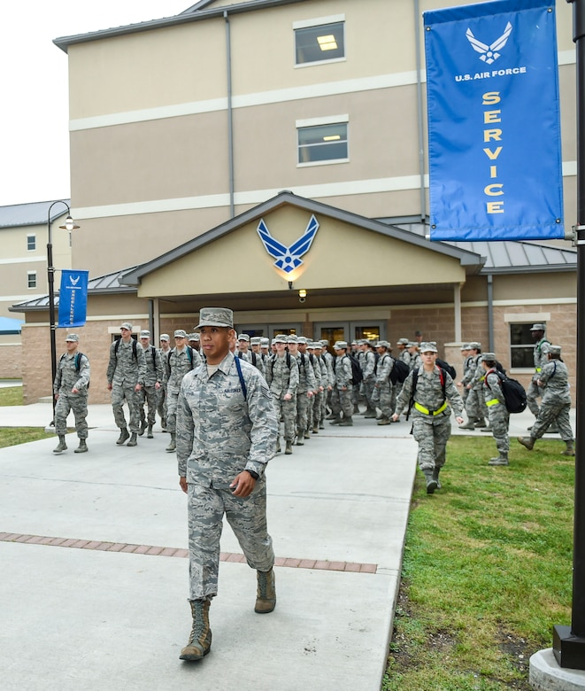 Staff Sgt. Mark Visita, 59th Training Group military training leader, marches technical training students to class April 14, 2016, on Joint Base San Antonio-Fort Sam Houston, Texas. Less than two dozen military training leaders are responsible for more than 5,000 technical training students annually. (U.S. Air Force photo/Staff Sgt. Michael Ellis)