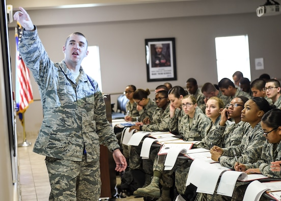 Staff Sgt. Joshua Ayers, 59th Training Group military training leader, gives an orientation briefing to new students April 14, 2016, on Joint Base San Antonio-Fort Sam Houston, Texas. The 59th TRG welcomes an average of 80 new technical training students every week. The group was activated on Jan. 4, 2016, when the 59th Medical Wing assumed command of the group from the 37th Training Wing. (U.S. Air Force photo/Staff Sgt. Michael Ellis)