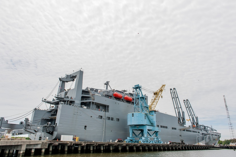 Over 1,300 pieces of equipment were loaded onto the 950-foot long, six interior deck, the U.S. Naval Ship Red Cloud, April 18, 2016, at Joint Base Charleston, S.C. – Weapons Station. Members from the Army Strategic Logistics Activity Charleston and the 841st Transportation Battalion staged, processed and configured the equipment to support USNS Red Cloud's prepositioned ship mission. (U.S. Air Force photo/Staff Sgt. Jared Trimarchi)