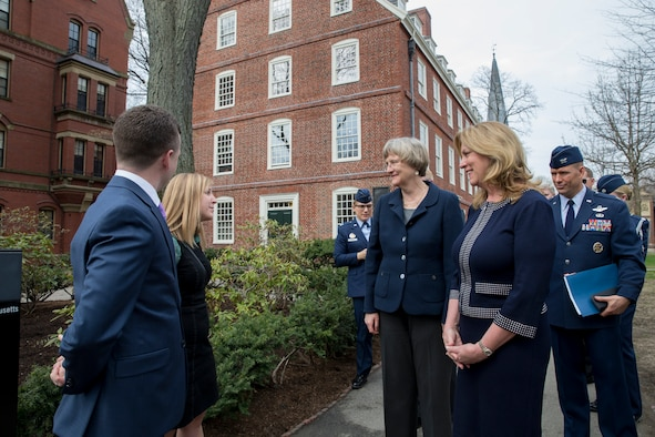 Deborah Lee James tours Harvard University before signing an agreement there officially brining the program back to the school April 22, 2016. This marks the first time the school has officially recognized the Air Force program since school officials stripped the program of its academic standing in 1971. James is accompanied by Harvard President Drew Faust. (Courtesy photo/Rose Lincoln/Harvard Staff Photographer)