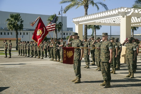 Marines with Combat Logistics Battalion 2, and Combat Logistics Battalion 6 render salutes for colors before a transfer of authority at Naval Air Station Sigonella, Italy on April 25, 2016.  Lt. Col. Matthew Hakola, the Commanding Officer for CLB-6, transfers authority of Special Purpose Marine Air-Ground Task Force Crisis Response-Africa Logistics Combat Element to Lt. Col. Randall Jones, the Commanding Officer of CLB-2.  (U.S. Marine Corps photo by Cpl. Alexander Mitchell/released)