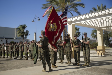 Lt. Col. Randall Jones, the Commanding Officer for Combat Logistics Battalion 2, and Sgt. Maj. Daniel Wilson, the Sergeant Major for CLB-2, uncase the battalion's colors during the transfer of authority ceremony for Special Purpose Marine Air-Ground Task Force Crisis Response-Africa Logistics Combat Element on April 25, 2016 at Naval Air Station Sigonella, Italy.  SPMAGTF-CR-AF LCE provides logistical support to the entire SPMAGTF enabling the protection of U.S. personnel, property and interests in Europe and Africa.   (U.S. Marine Corps photo by Cpl. Alexander Mitchell/released)
