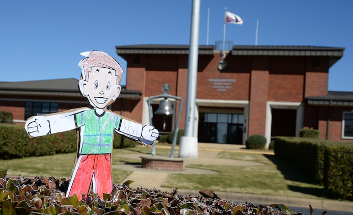 Flat Stanley, a paper-thin cutout boy figure, arrives for duty at Marine Corps Logistics Base Albany Headquarters, recently.  He experienced what it was like to be a military police officer aboard a Marine Corps installation.