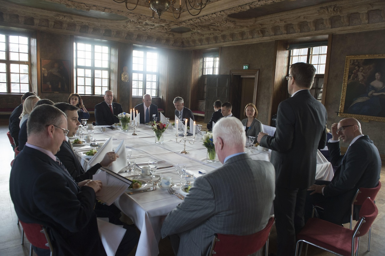 Deputy Defense Secretary Bob Work attends a luncheon with defense representatives from Baltic and Nordic states in Stockholm, April 26, 2016. DoD photo by Navy Petty Officer 1st Class Tim D. Godbee