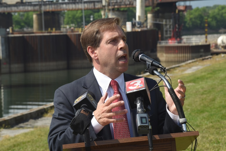 Congressman Chuck Fleischmann, Tennessee District 3, addresses the media about the cofferdam stabilization project and the restart of work on the new Chickamauga Lock on the Tennessee River in Chattanooga, Tenn., April 25, 2016.  The U.S. Army Corps of Engineers Nashville District operates and maintains the current lock and is constructing the new lock.