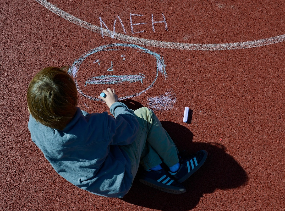 A child at Vogelweh Elementary School draws out his emotions during a therapy session April 21, 2016, at Vogelweh Air Base, Germany. Students who were separated from members of their families during the departure from Turkey and transitioned to Vogelweh schools undergo therapy to help them cope with any stress and anxiety issues they may have. (U.S. Air force photo/Airman 1st Class Lane T. Plummer)